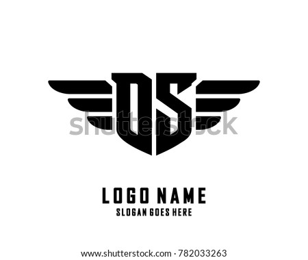 Initial D & S wing logo template vector