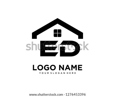 Initial ED home logo vector.