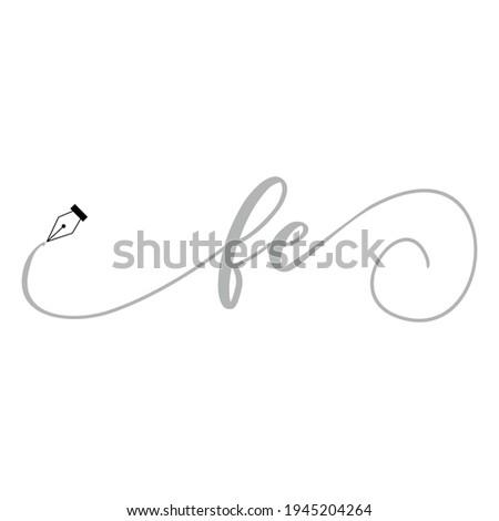 Initial FE logo handwriting business illustration fashion simple Photo stock ©