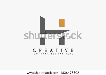 initial H letter logo design vector illustration. H flat logo isolated on white background Stockfoto ©