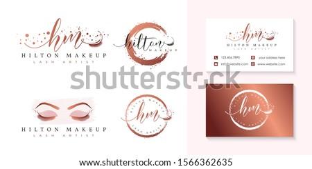 initial hm eyelashes logo collection template p vector