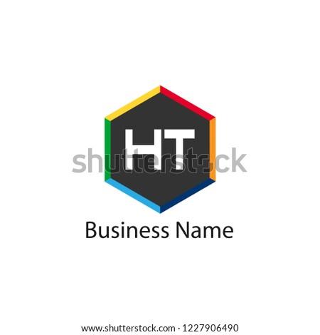 Initial HT Letter Logo Design Stock fotó ©