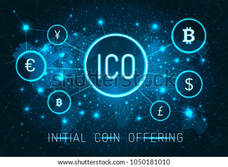 Initial ICO coin offering promo poster with world map. Digital money system banner. ICO promotion with coins signs on cosmic poster vector illustration.