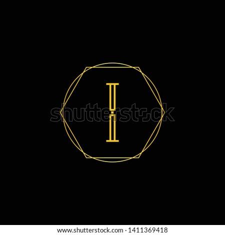 initial ii i letter logo design