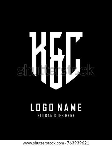 Initial K & C abstract shield logo template vector Stok fotoğraf ©