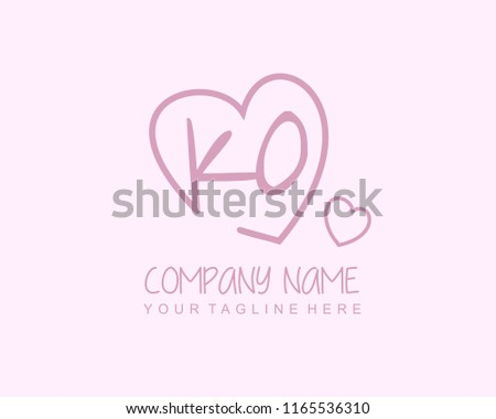 Initial K O with love logo template vector