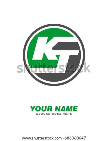 Initial K T circle logo template vector Stok fotoğraf ©