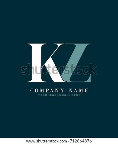 Initial K & z simple design logo template vector Stok fotoğraf ©