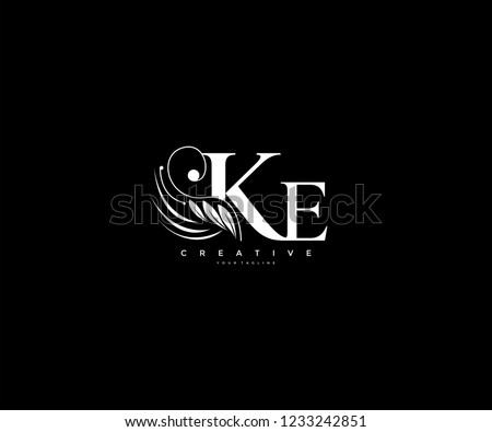 Initial KE letter luxury beauty flourishes ornament monogram logo Stok fotoğraf ©