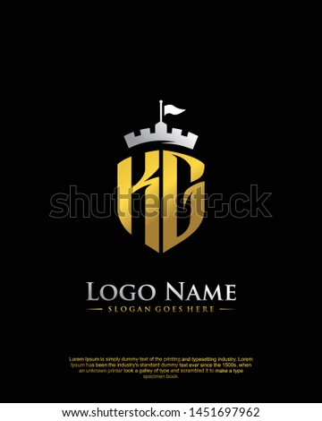 initial KG letter with shield style logo template vector