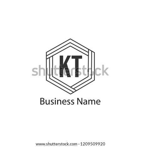 Initial KT Logo Template Stock fotó ©
