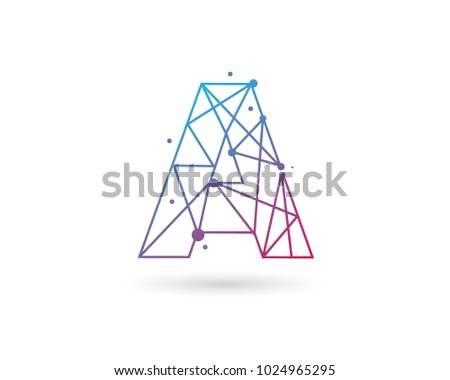 Initial Letter A Connected Circle Network Logo Design Template Element
