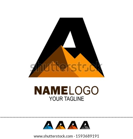 initial Letter A rock mountain logo. rock hill logo. can be used for mining company logos, oil drilling companies, and others. vector