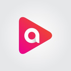 Initial letter A rounded triangle icon