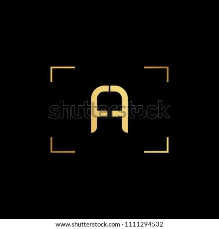Initial letter AA AF FA minimalist art monogram shape logo, gold color on black background