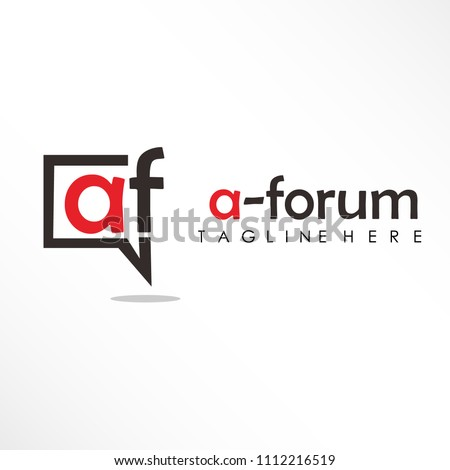 initial letter af linked logo design with a-forum text red and black
