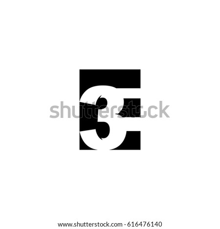 Initial letter and number logo, E and 3, E3, 3E, negative space black