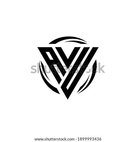 Initial letter AVU triangle monogram cool simple modern logo concept  Stok fotoğraf ©