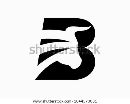 Initial Letter B with bulls Design Logo Vector Graphic Branding Letter Element.