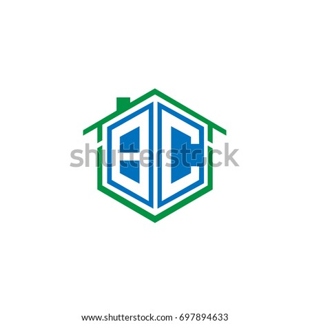 Initial Letter BC Linked Logo, House or Real Estate Badge with Blue and Green Color