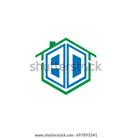 Initial Letter BD Linked Logo, House or Real Estate Badge with Blue and Green Color
