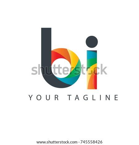 Initial Letter BI Curve Rounded Design Logo Foto stock ©