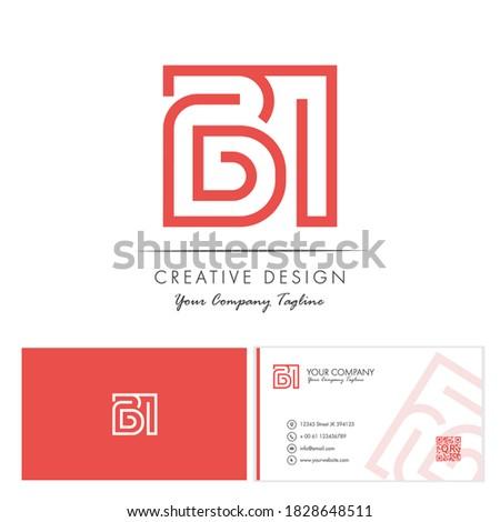 Initial letter BI Letter Logo Design with creative modern name card vector Illustration. BI Letter Logo Concept Ready For Use. Initial letter BI logo vector design template. Foto stock ©