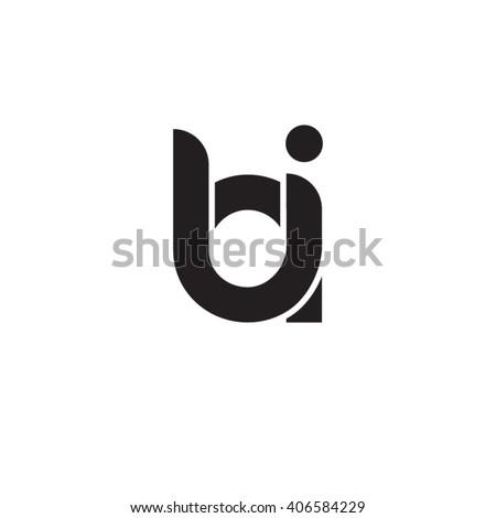 initial letter bi linked circle lowercase monogram logo black Foto stock ©