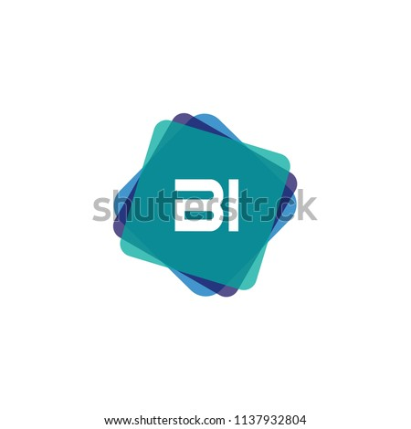 Initial Letter BI Logo Template Design Foto stock ©