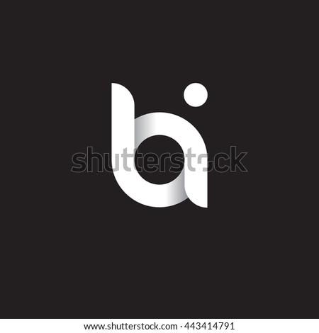 initial letter bi modern linked circle round lowercase logo white black Foto stock ©