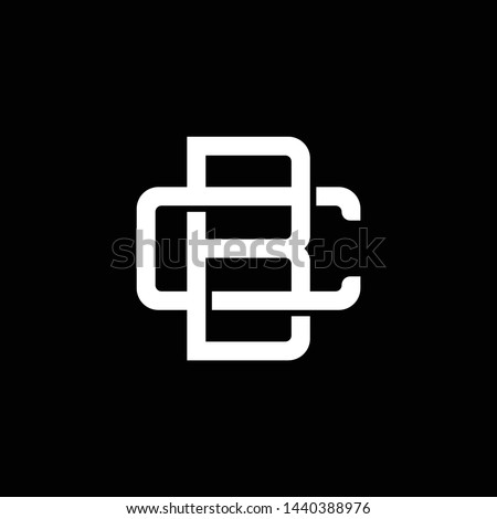 Initial letter C and B, CB, BC, overlapping interlock monogram logo, white color on black background
