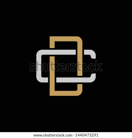 Initial letter C and D, CD, DC, overlapping interlock logo, monogram line art style, silver gold on black background