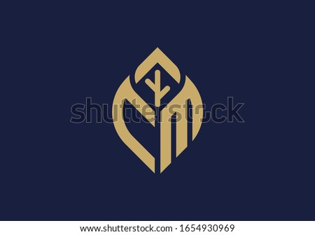 Initial letter C and M with abstract leaf logo sign symbol Stock fotó ©