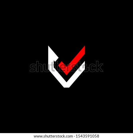 Initial letter C J V or checkmark logo template with modern fox head simplicity symbol in flat design monogram illustration Stock fotó ©