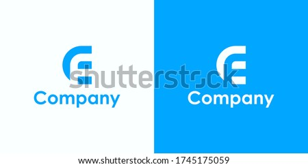 Initial Letter CF or EF Logo. Monogram Linear Rounded Style isolated on White and Blue Background. Usable for Business, Branding and Technology Logos. Flat Vector Logo Design Template Element. Photo stock ©