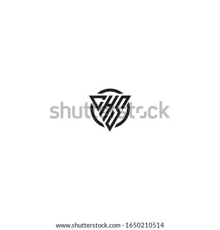 Initial Letter CHS triangle monogram cool modern logo