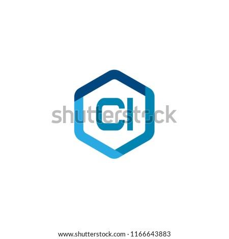 Initial Letter CI Logo Template Design Stock fotó ©