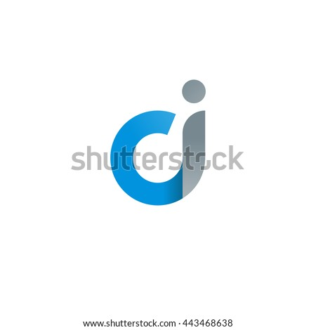 initial letter ci modern linked circle round lowercase logo blue gray Stock fotó ©