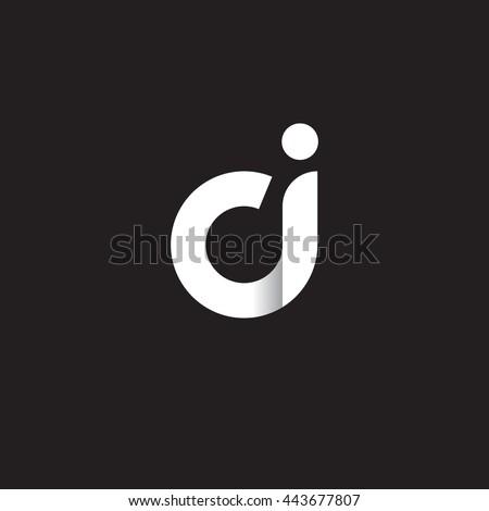 initial letter ci modern linked circle round lowercase logo white black Stock fotó ©
