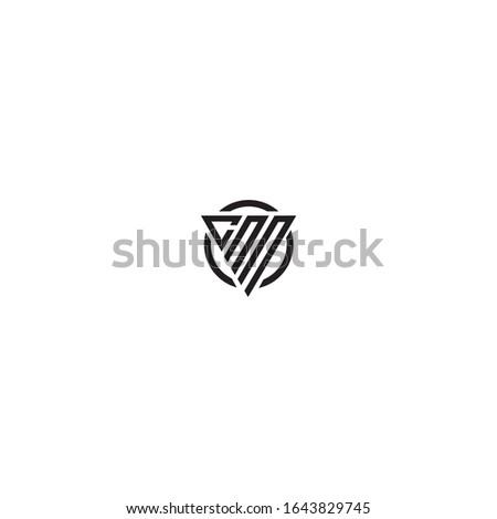 Initial Letter CNN triangle monogram cool modern logo