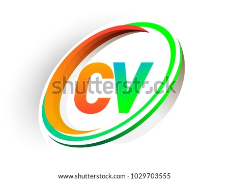Initial Letter Cv Logotype Company Name Colored Orange And Green