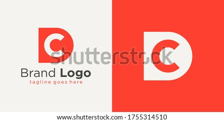 Initial Letter D and C Logo. Red Shape D Letter with Negative Space C Letter inside isolated on Double Background. Usable for Business and Branding Logos. Flat Vector Logo Design Template Element. Foto stock ©