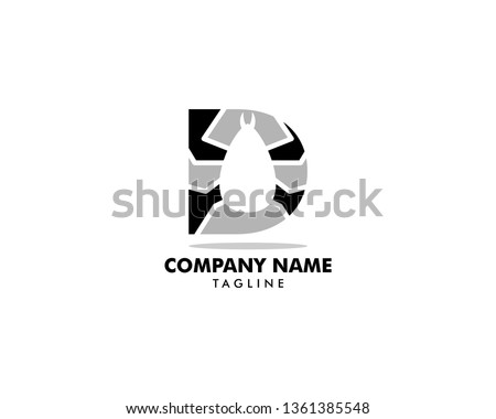 Initial Letter D with Flea Animals Design Logo Vector Photo stock ©