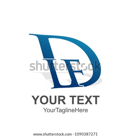 Initial letter DLF logo design template element colored blue for business and company identity