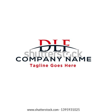 Initial letter DLF, overlapping movement swoosh horizon logo company design inspiration in red and dark blue color vector