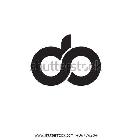 initial letter do linked circle lowercase monogram logo black Foto stock ©