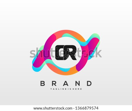 Initial letter DR logo with colorful circle background, letter combination logo design for creative industry, web, business and company. - Vector