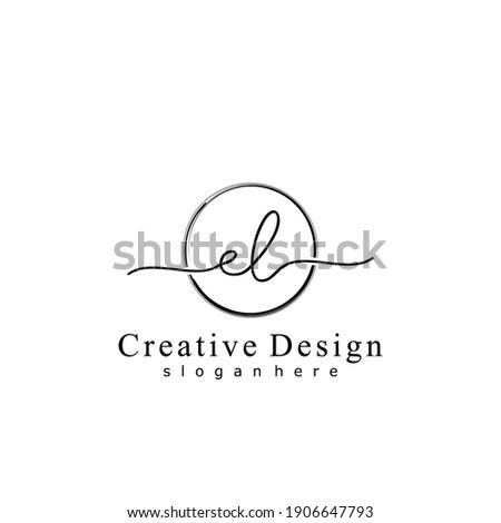 Initial letter EL calligraphy handwritten logo. Handwritten alphabet in the logo template. Letters and Alphabet for your logo design. Stock fotó ©