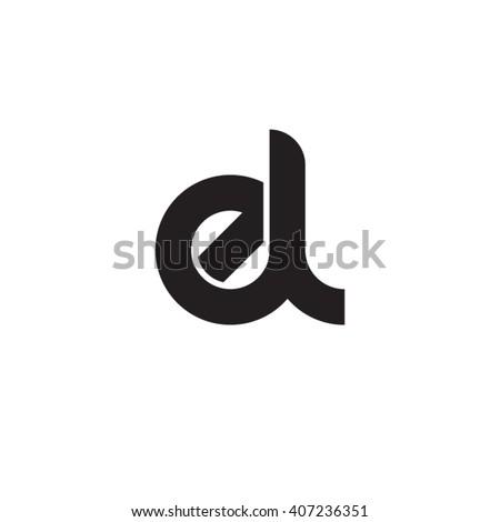 initial letter el linked circle lowercase monogram logo black Stock fotó ©