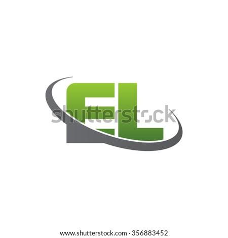 initial letter EL swoosh ring company logo green gray Stock fotó ©